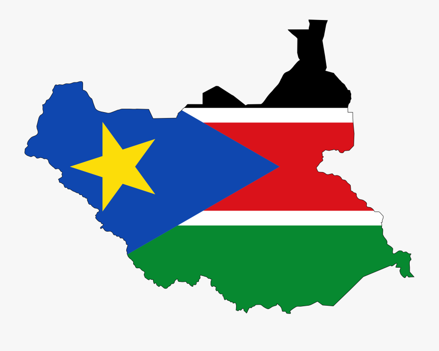 Sudan Flag Map With Stroke - South Sudan Country Flag, Transparent Clipart
