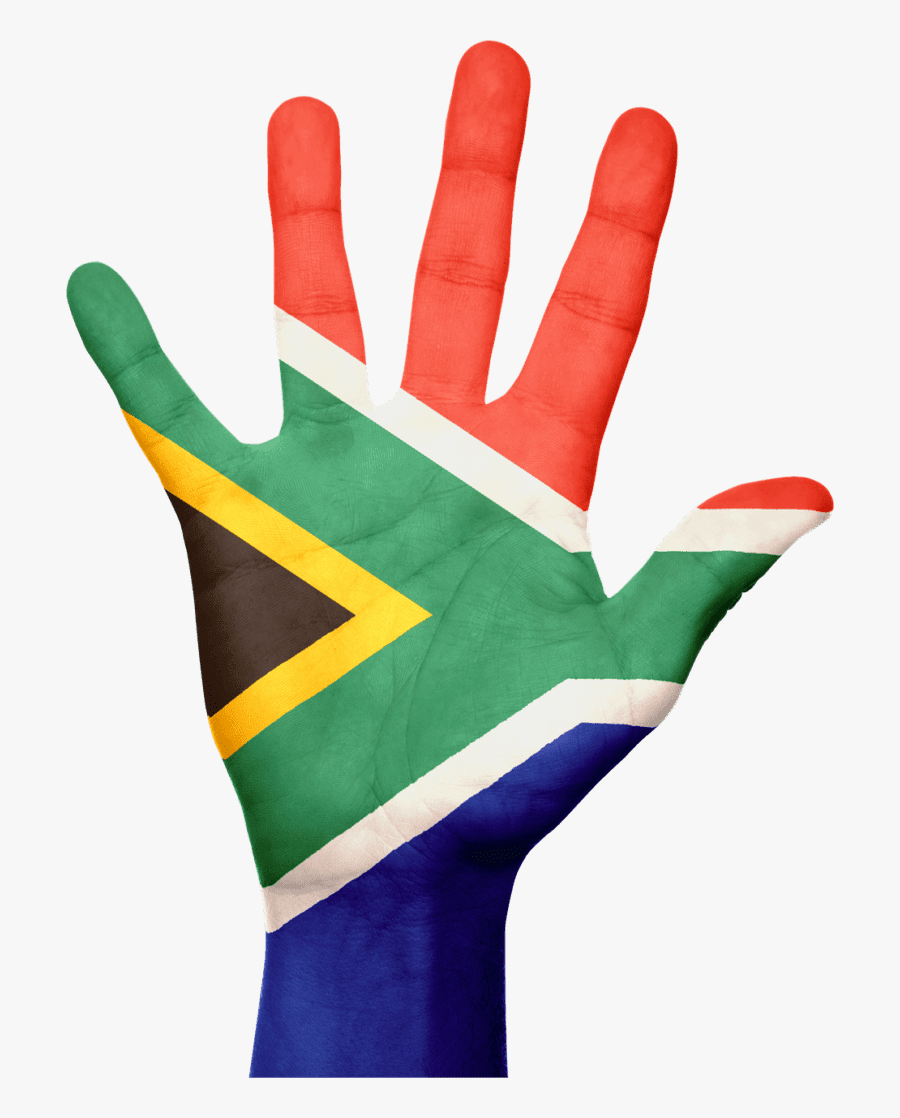 South Africa Flag Hand, Transparent Clipart