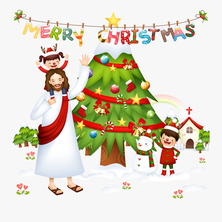 Clip Art Cartoon Christmas Scene - Christmas With Jesus, Transparent Clipart