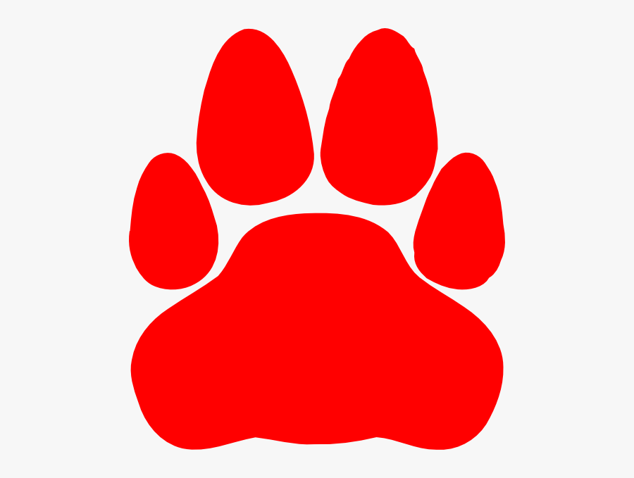 Red Cat Paw Print, Transparent Clipart