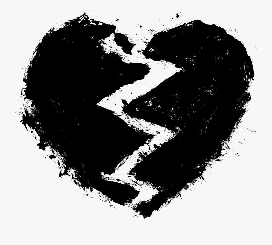 Heart,black And Art - Black Shattered Heart Png, Transparent Clipart