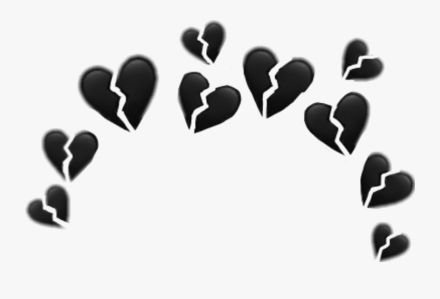 #broken #heart #emoji #crown #circle #glitter #glitch - Black Heart Crown Transparent, Transparent Clipart