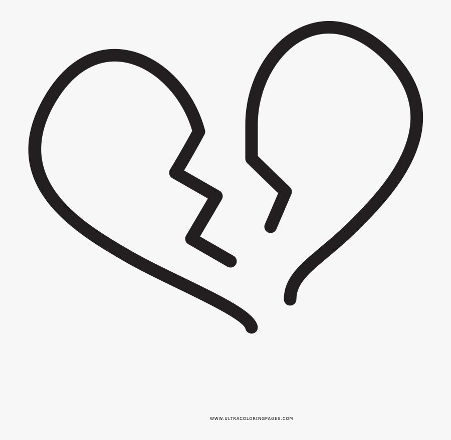 11 Broken Heart Coloring - Png Corazon Roto Sticker, Transparent Clipart