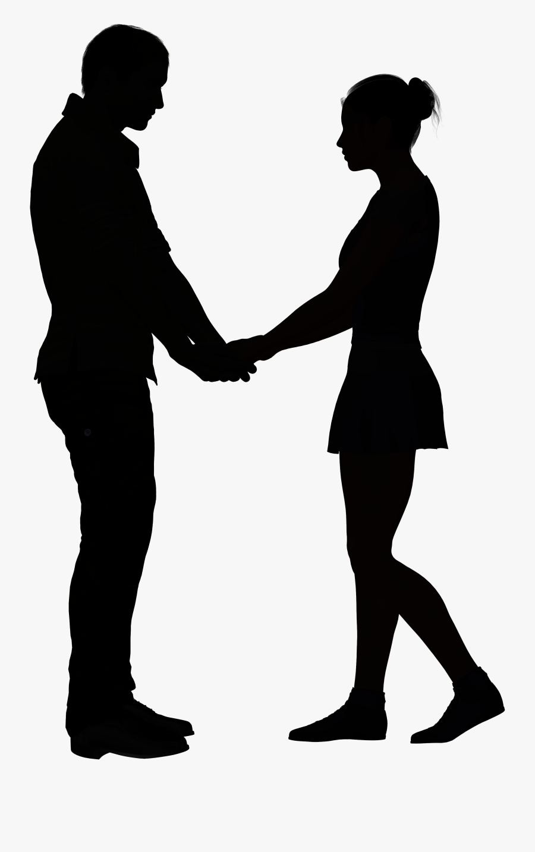 Silhouette Love Clip Art - Couple Silhouette Holding Hands Png, Transparent Clipart