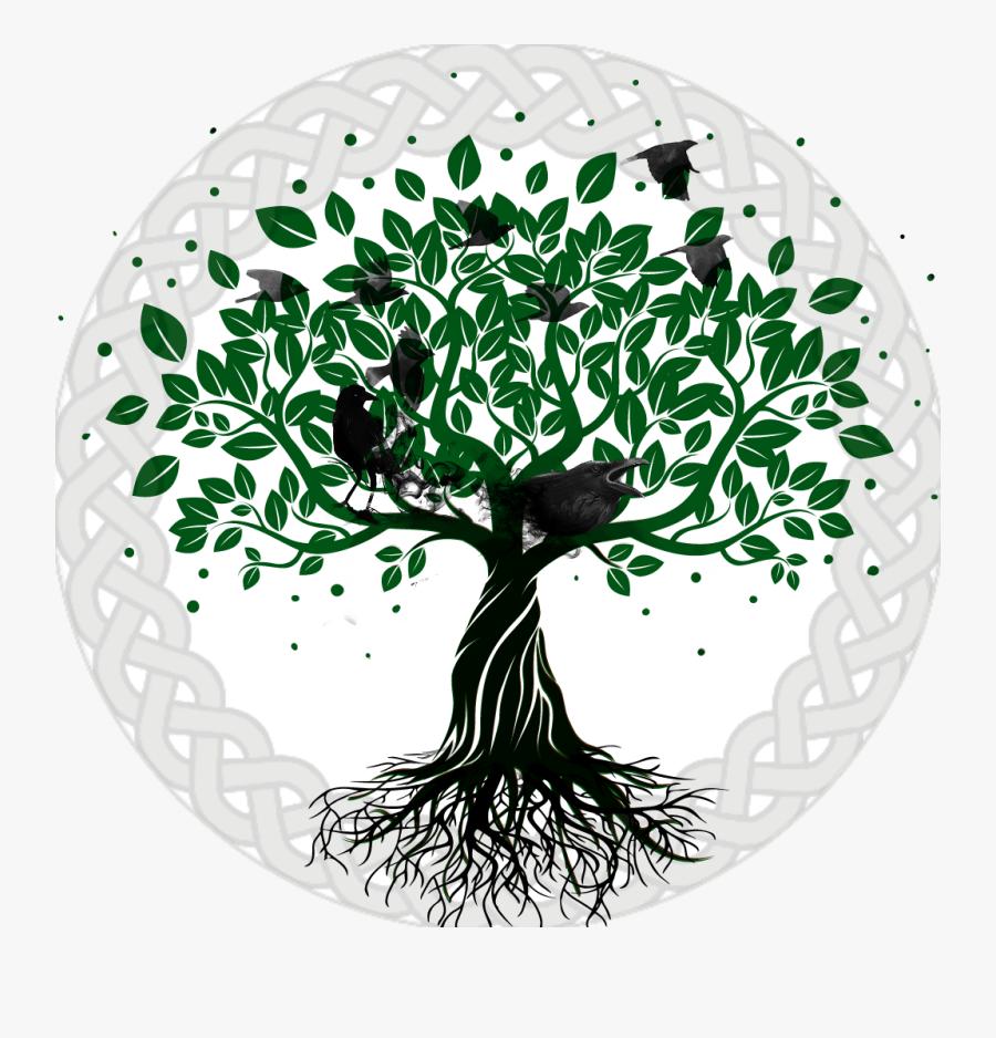 Yggdrasil Raven Tree Celtic Knot Circle Leaves Pagan - Transparent Tree Of Life Breastfeeding, Transparent Clipart