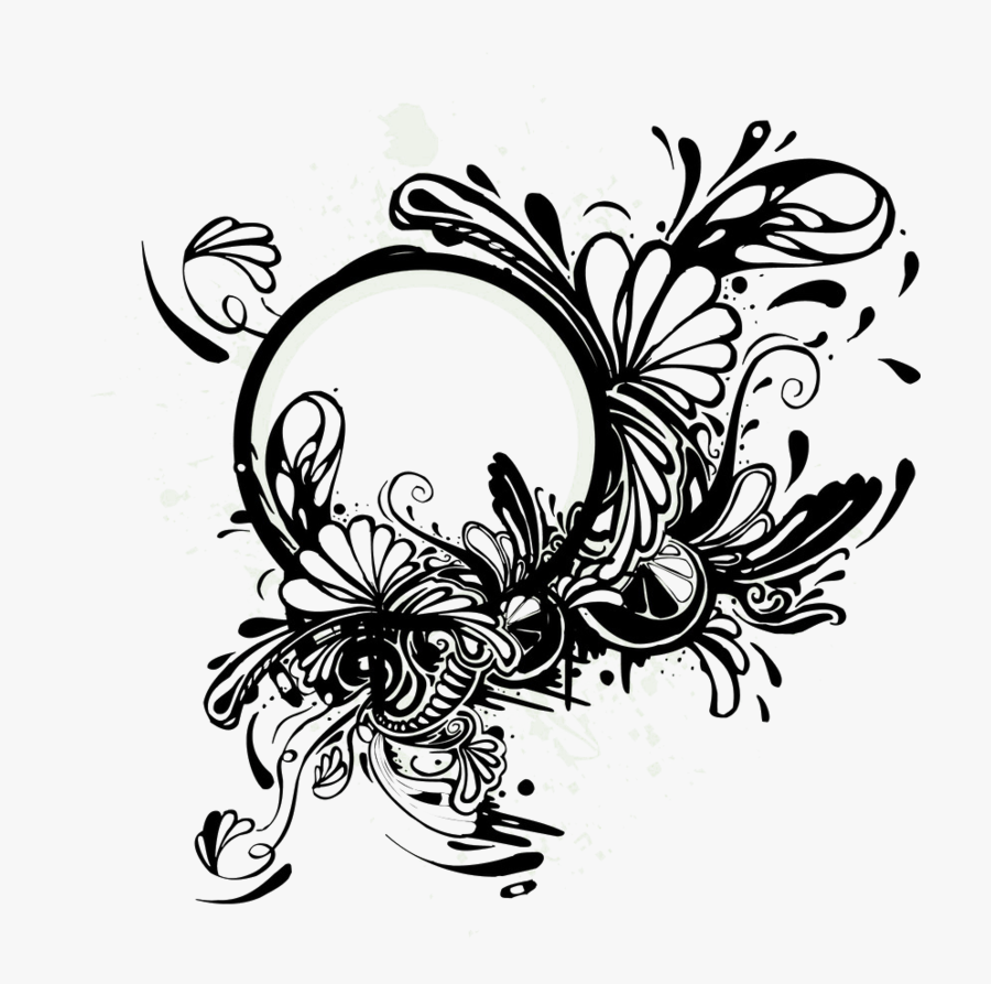 Flower Bouquet Abstract Design Floral Black Frame - Thoughts For Facebook Profile, Transparent Clipart
