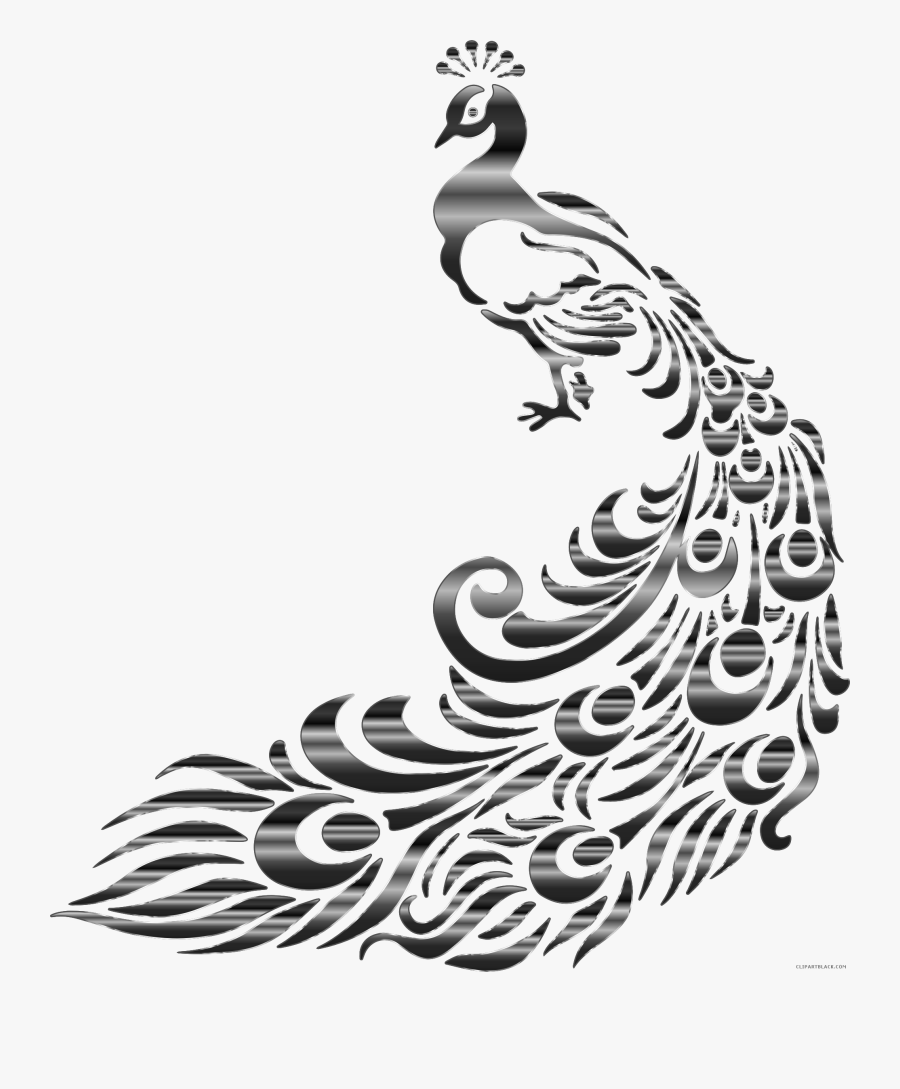 Animal Clipart Peacock - Black And White Peacock Painting, Transparent Clipart