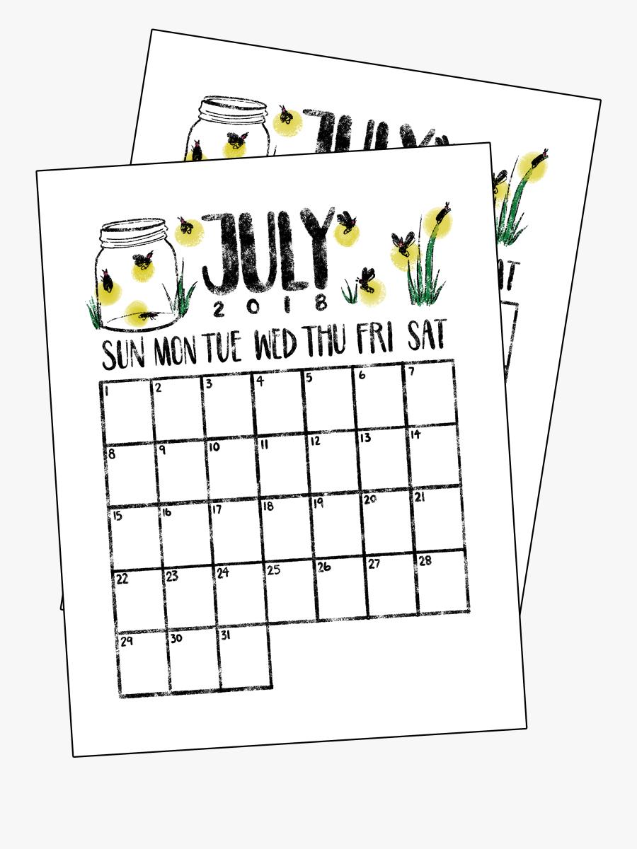 Clip Art Bullet Journal Monthly Calendar Printable - July Calendar Bullet Journal, Transparent Clipart