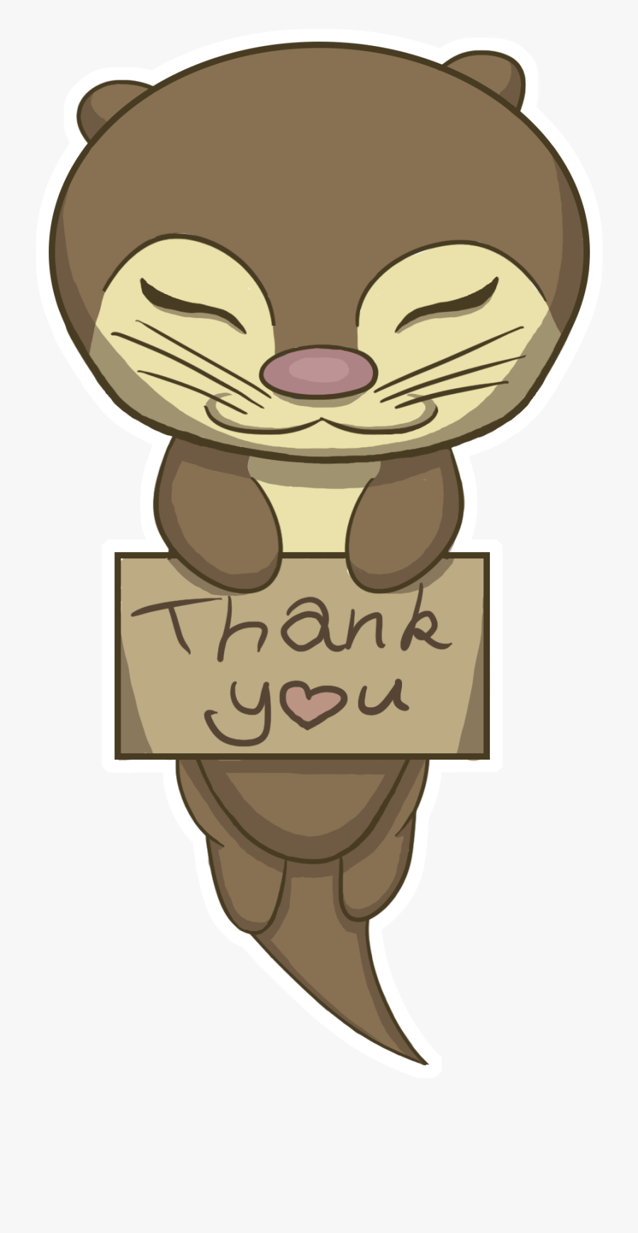 Thank You Otter, Transparent Clipart