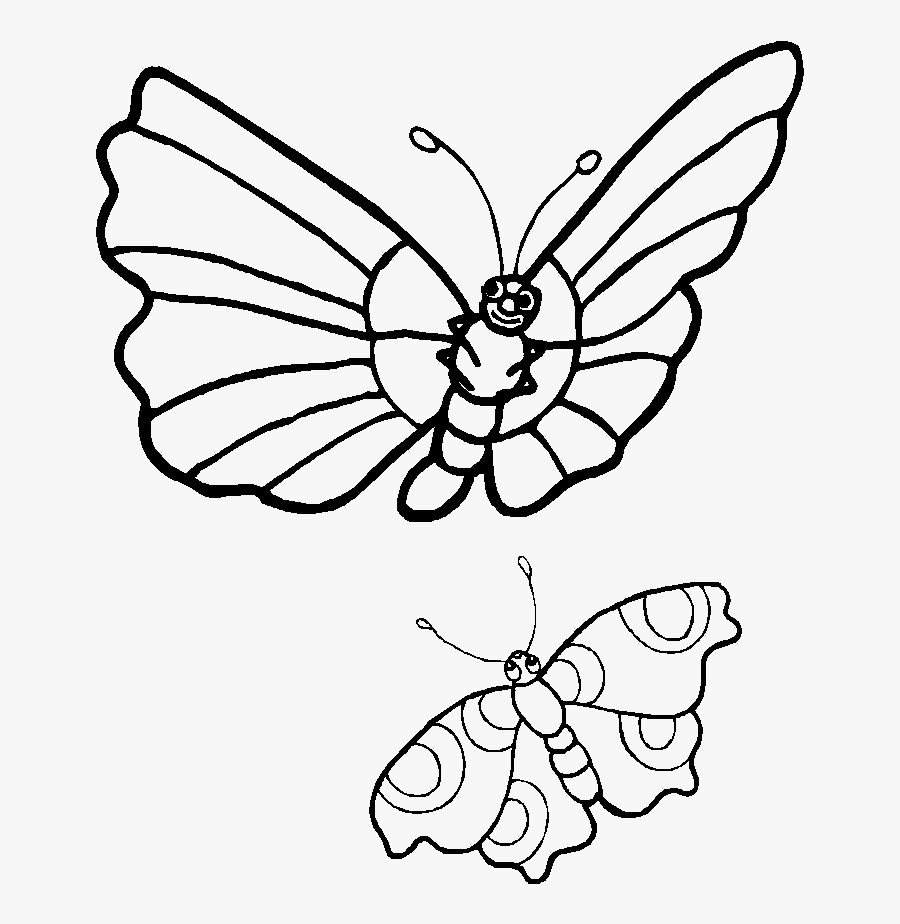 Transparent Butterfly Clipart Png Black And White - Butterflies Black And White Cartoon, Transparent Clipart