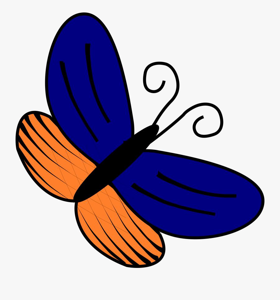 Blue And Orange Butterfly Clipart, Vector Clip Art - Gambar Kupu Kupu Sederhana, Transparent Clipart