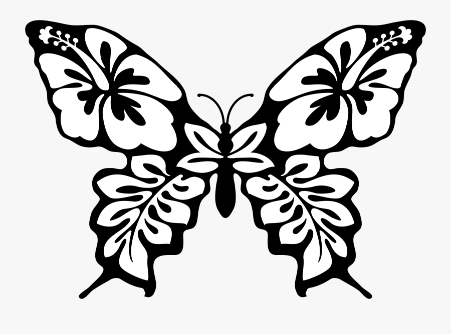 Butterfly Clipart Svg - Line Drawing Butterfly With Flower, Transparent Clipart
