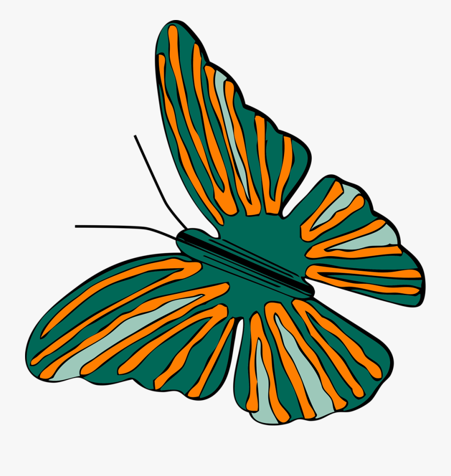 Free Vector Butterfly Clip Art - Orange And Green Butterfly, Transparent Clipart