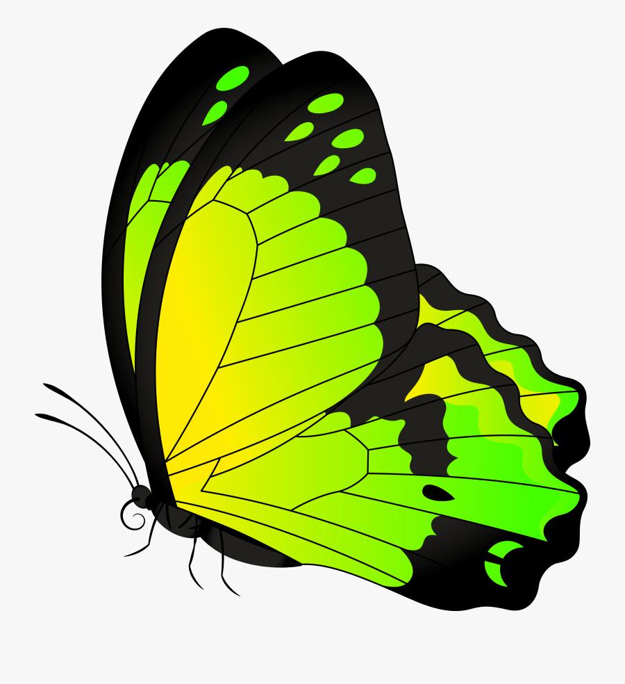 Butterfly Yellow Green Transparent Clip Art Image - Blue Butterfly Clip Art, Transparent Clipart