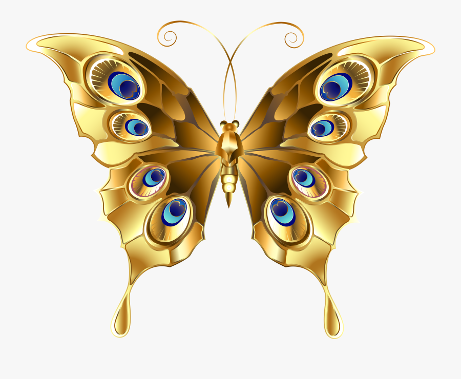 Butterfly Clip Art, Butterfly Flowers, Butterfly Cards, - Gold Butterfly Vector Png, Transparent Clipart