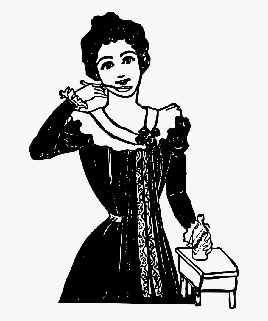 Woman With Medicine - Картинки Png Девушка С Телефоном Ретро, Transparent Clipart