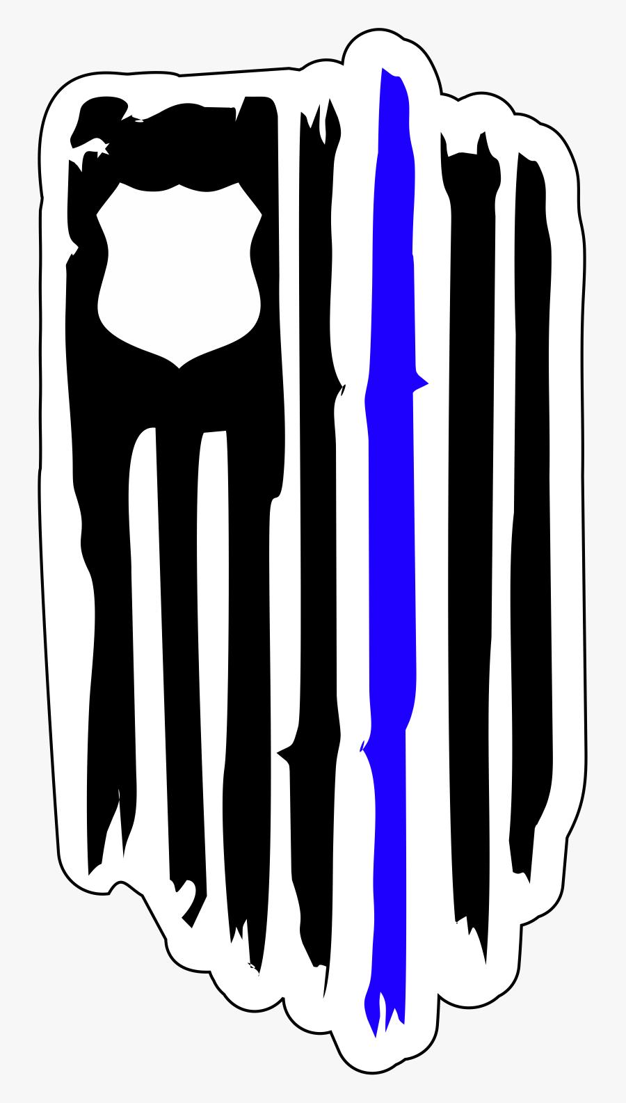 Law Enforcement Badge Thin Blue Line, Transparent Clipart