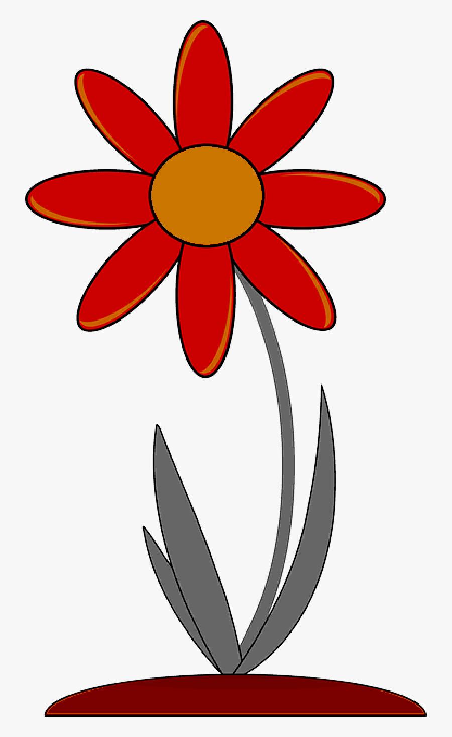 Red, Outline, Drawing, Plants, Flower, Flowers, Cartoon - Flower Clip Art, Transparent Clipart