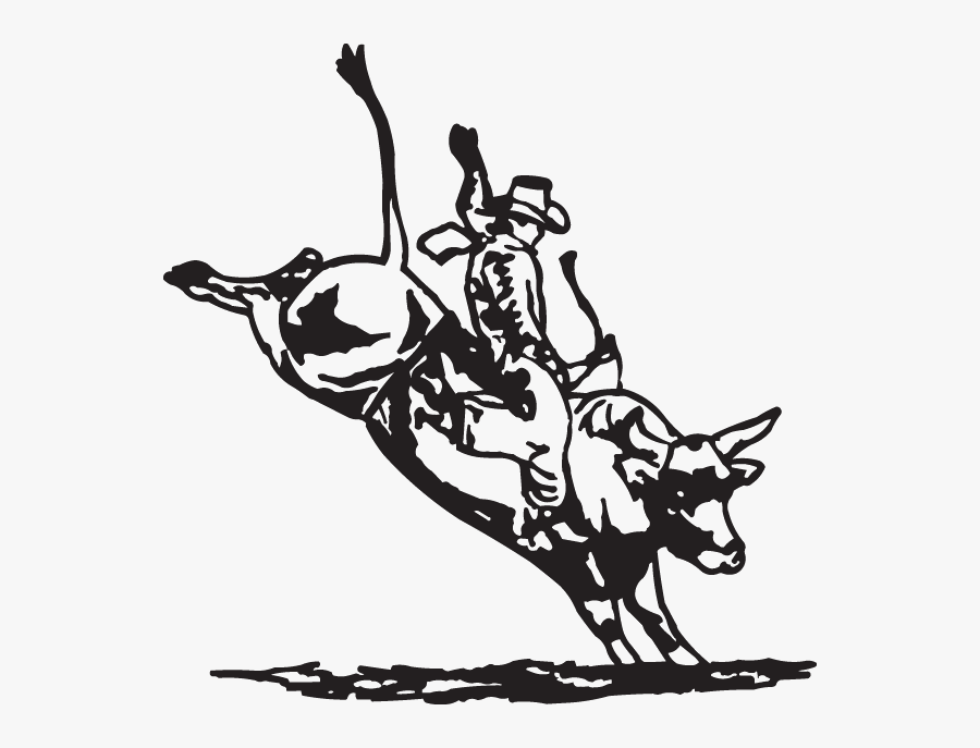 Clip Art Bullwhip Rodeo - Bull Riding Pictures Black And White, Transparent Clipart