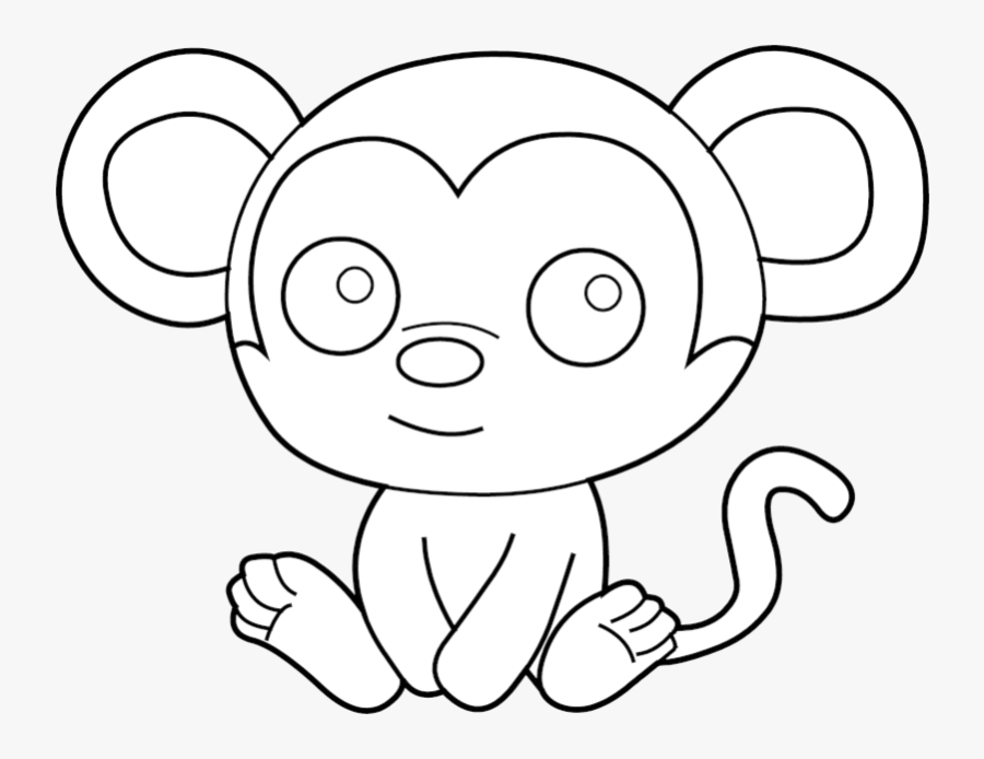 Animal Cute Baby Clipart Black And White Draw Howler - Monkey Coloring Pages Easy, Transparent Clipart