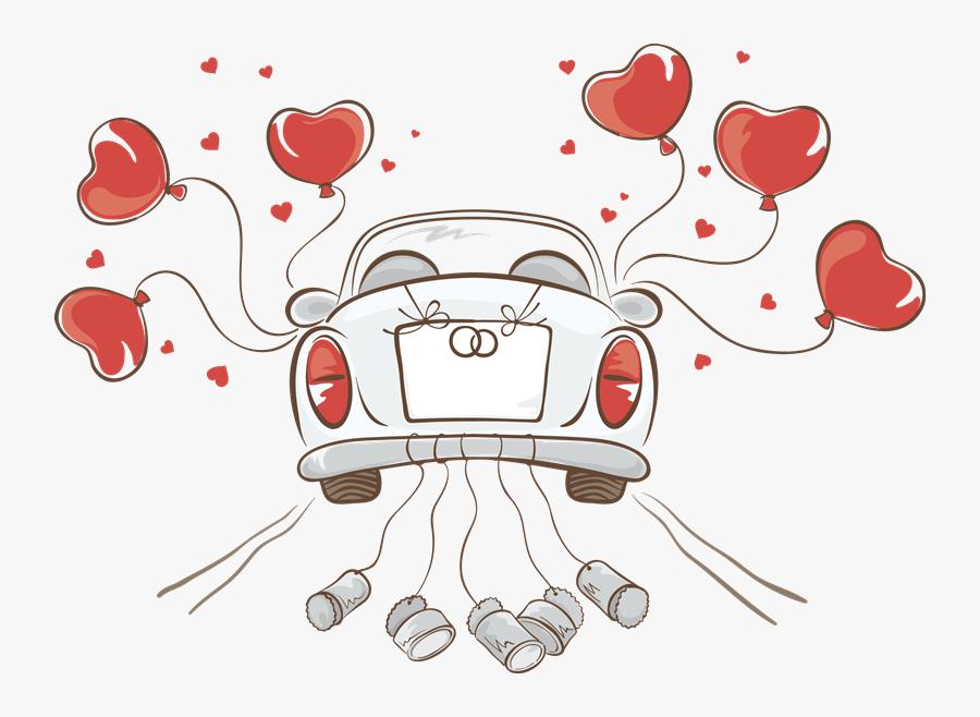 Transparent Congratulations Png - Just Married Car Drawing, Transparent Clipart