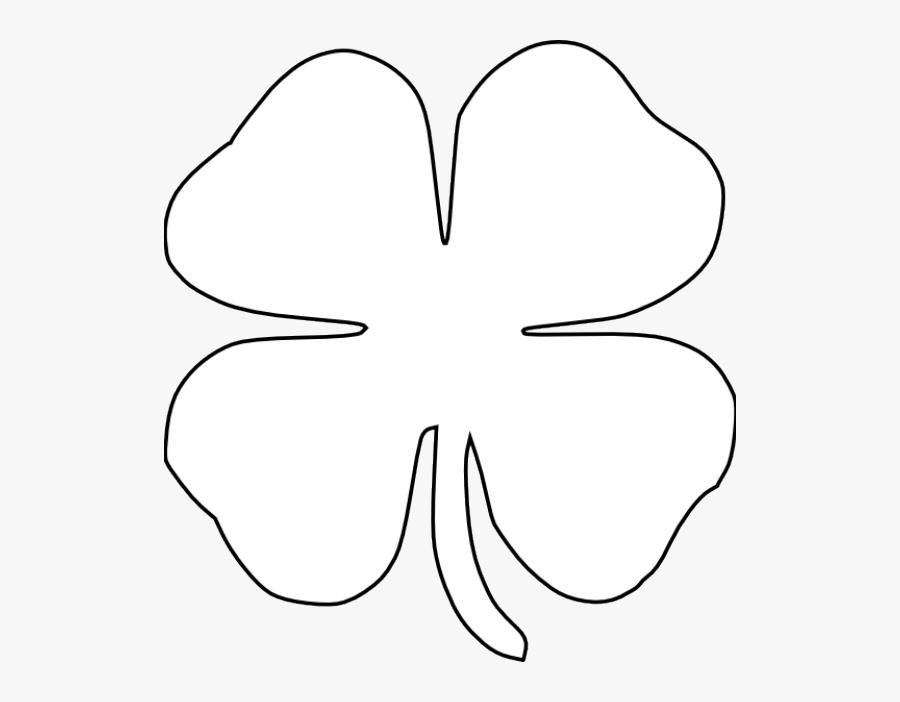 Transparent Four Leaf Clover Clipart Black And White - Four Leaf Clover Black And White, Transparent Clipart