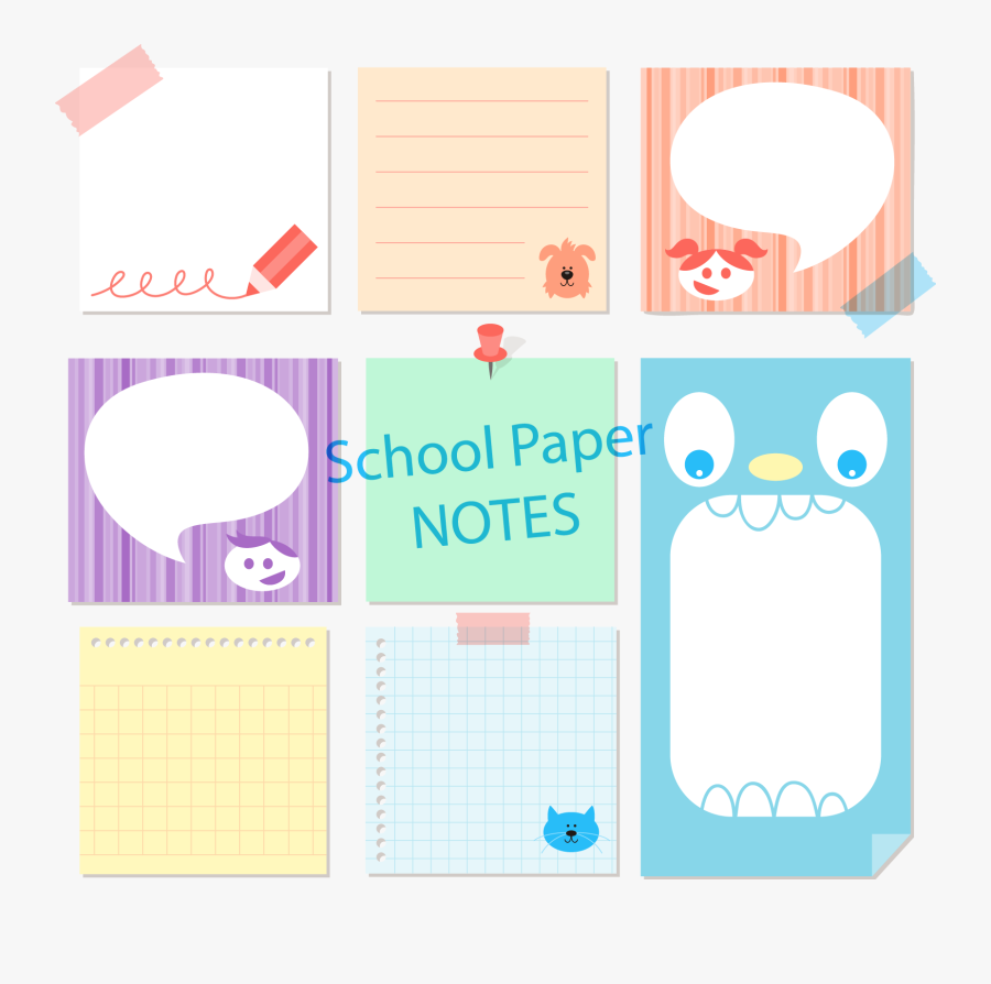 Notes Clipart School Papers - Notes Vector Sticky, Transparent Clipart