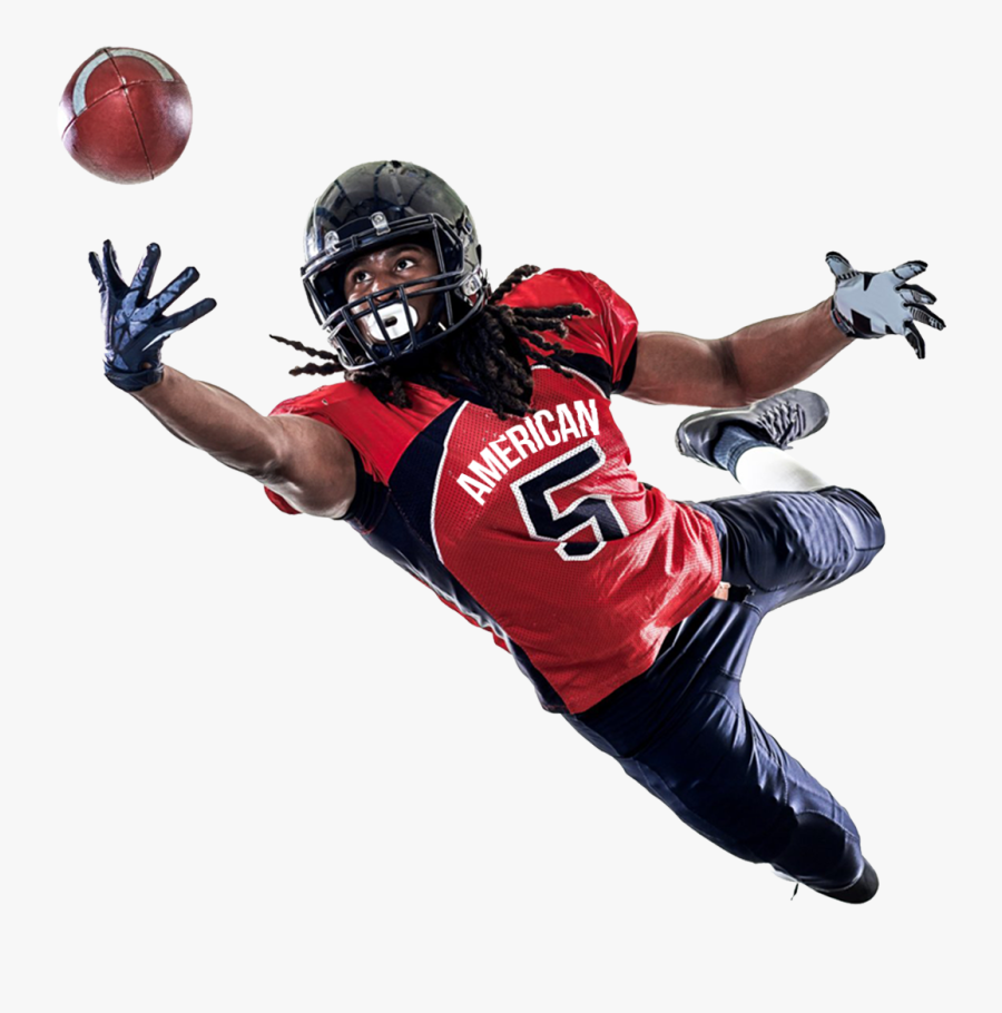 American Football Player Catching A Ball Png - Football Player Catching The Football, Transparent Clipart