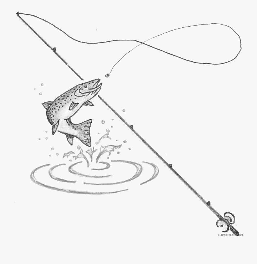 Clip Art Fishing Black And White Clipart - Draw A Fishing Pole, Transparent Clipart