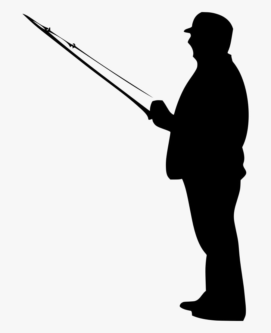 Fisherman Clipart Black - Man Fishing Silhouette Png, Transparent Clipart