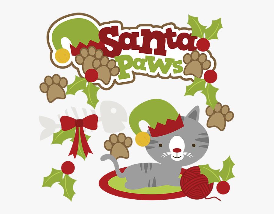 Santa Paws Svg Cat Clipart Cat Svg Cute Cat Clip Art - Cat Christmas Clipart, Transparent Clipart