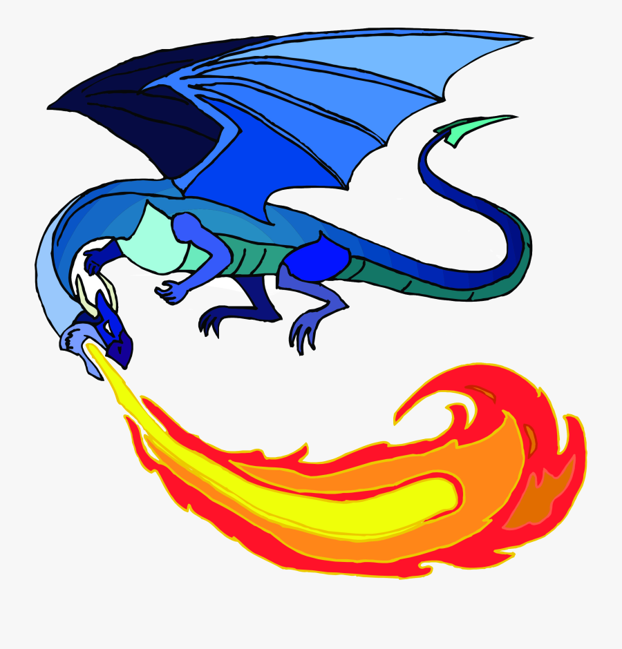 Fire Cartoon Dragon Breathing Transparent Png - Fire Breathing Dragon Clipart, Transparent Clipart