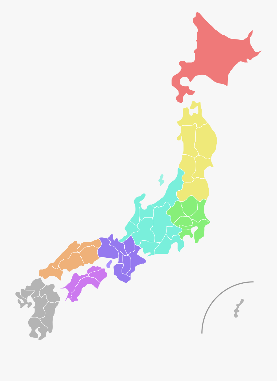 Map,world,prefectures Of Japan - Coloured Map Of Japan, Transparent Clipart