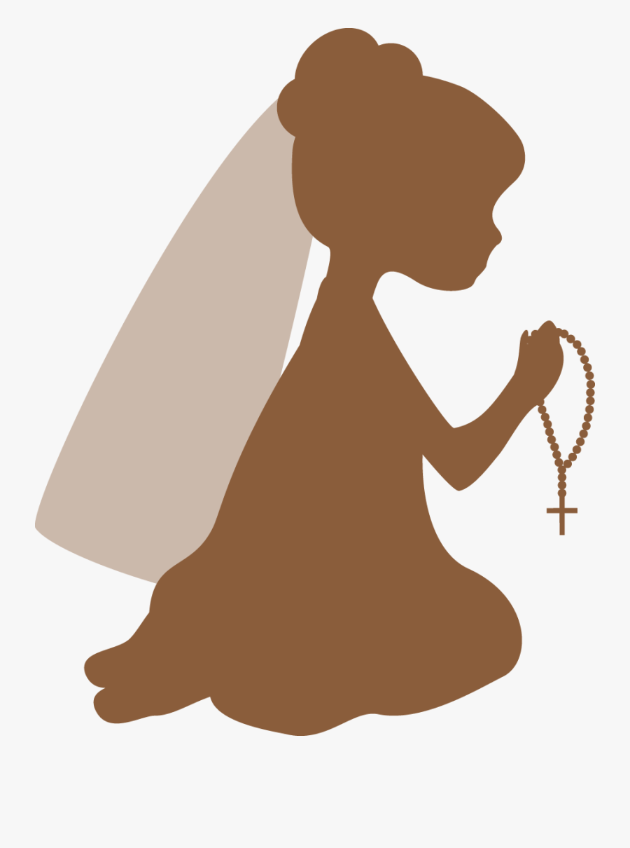 Silhouettes First Communion Clipart - First Communion Girl Silhouette, Transparent Clipart