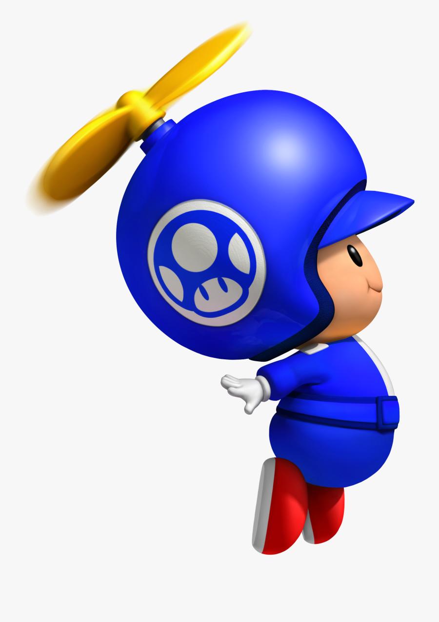 Blue Propeller Toad - New Super Mario Bros Wii Blue Toad, Transparent Clipart