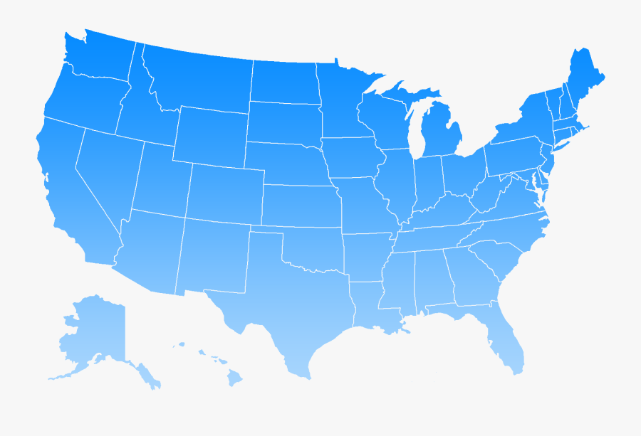 Blue Us Map Png Clipart , Png Download - States Without Lottery, Transparent Clipart