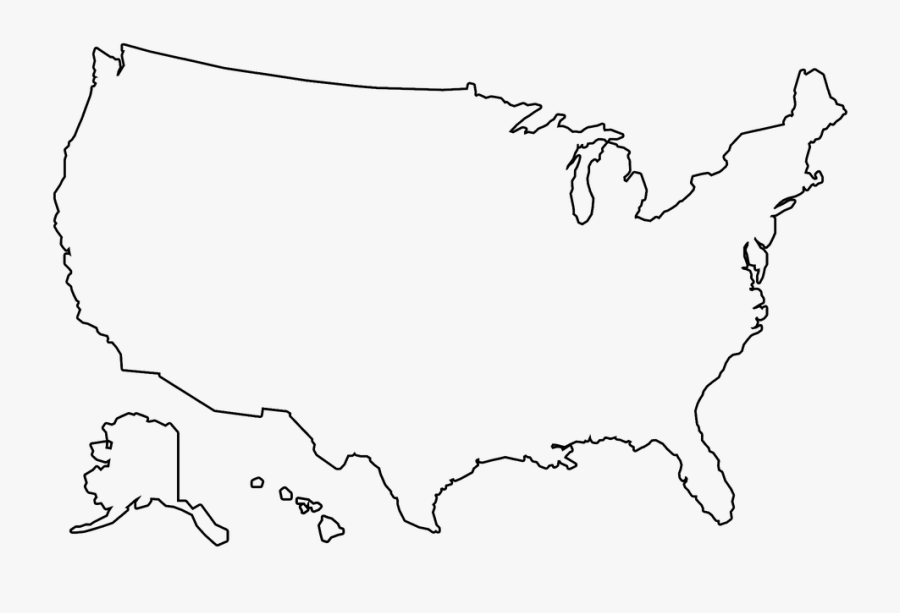 Clip Art Outline Of United States Map - Transparent Us Map Outline, Transparent Clipart