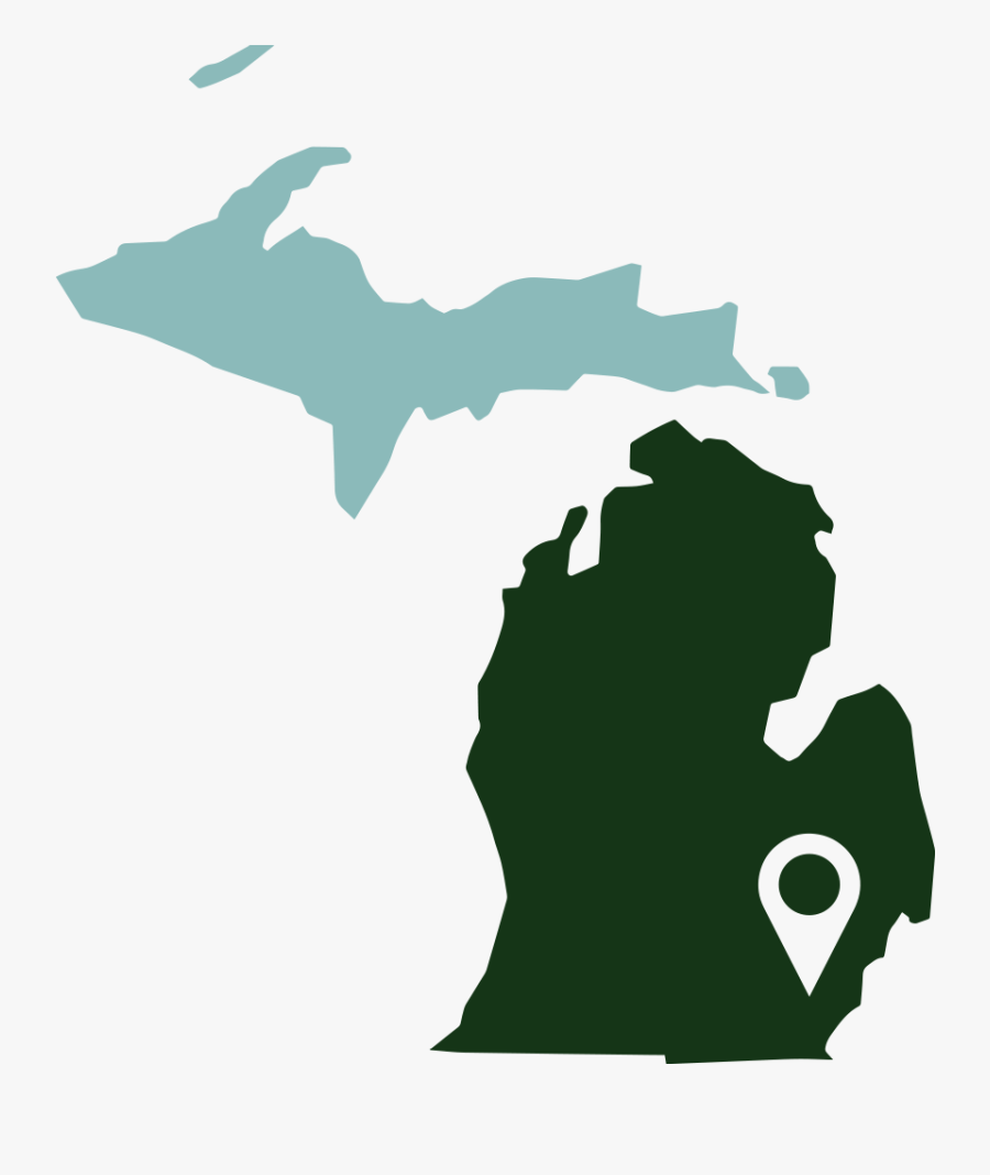 Green Us Map Silhouette Png - Michigan Area Codes, Transparent Clipart