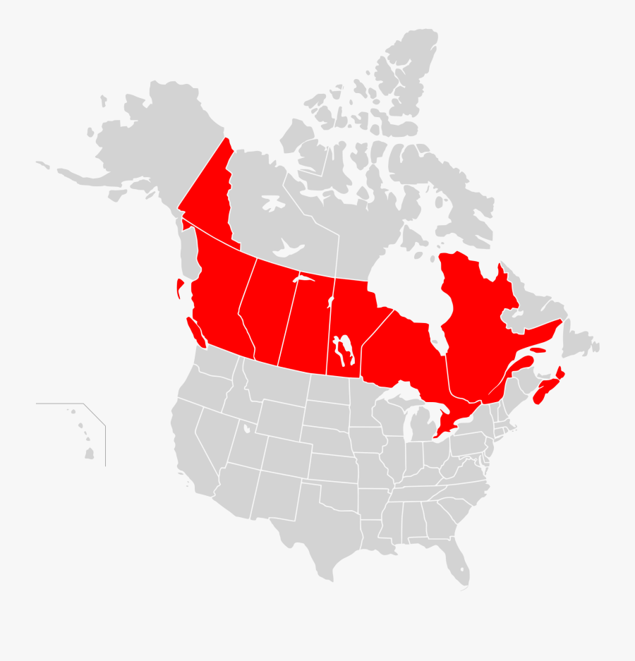 Maps Clipart Map America - Canada Size To Us, Transparent Clipart