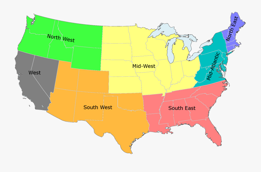 Transparent United States Map Clipart - Map Of Americas Regions, Transparent Clipart