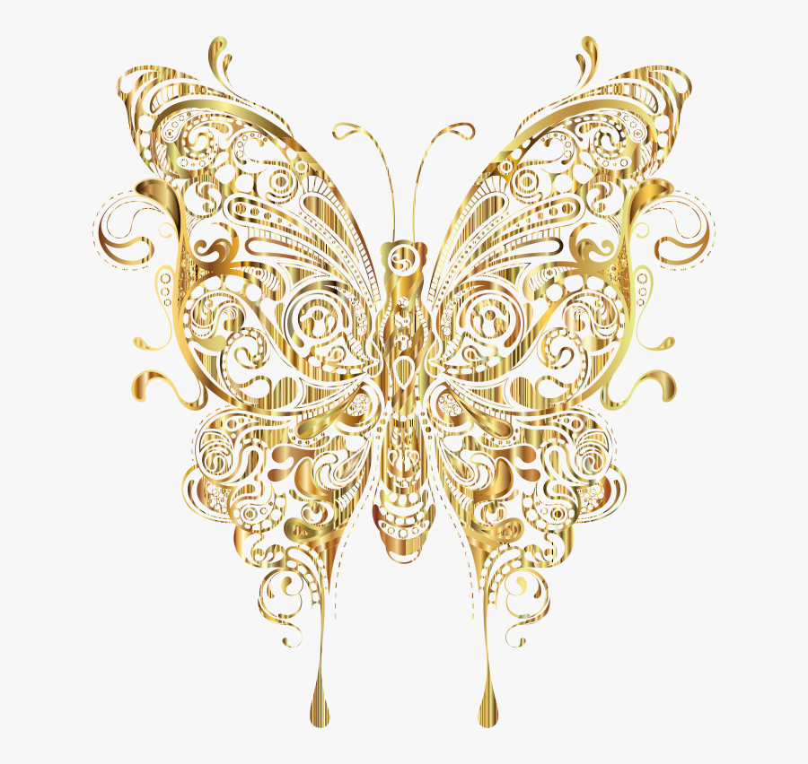 Butterfly Gold Clip Art - Transparent Background Gold Butterfly Png, Transparent Clipart