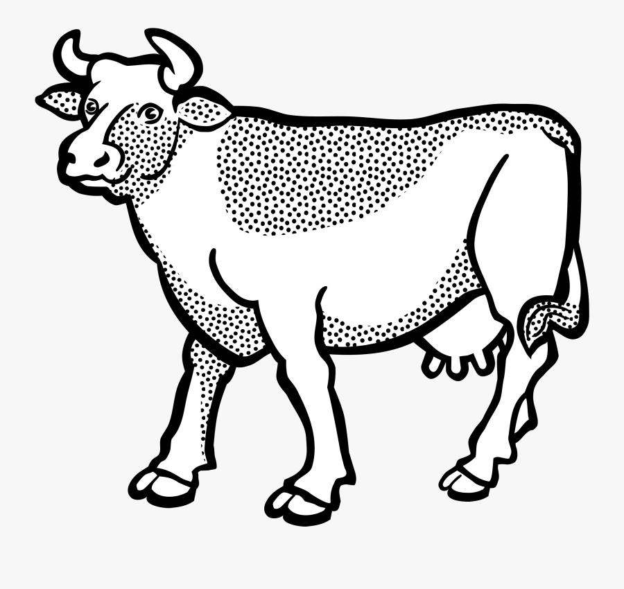 Art,monochrome Photography,carnivoran - Cow Line Art Png, Transparent Clipart