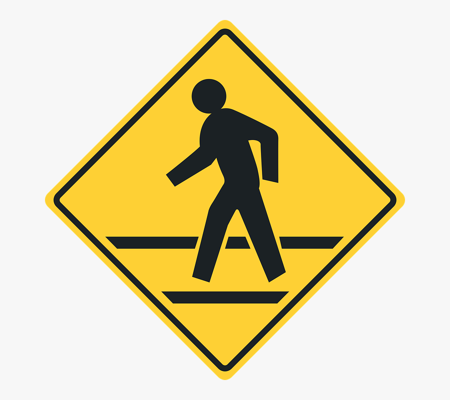 Railroad Tracks Clipart Crosswalk Sign - Pedestrian Crossing Sign, Transparent Clipart