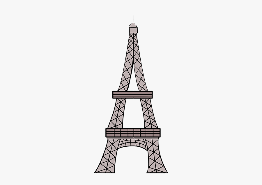 How To Draw The Eiffel Tower In A Few Easy Steps Easy - Eiffel Tower Draw, Transparent Clipart