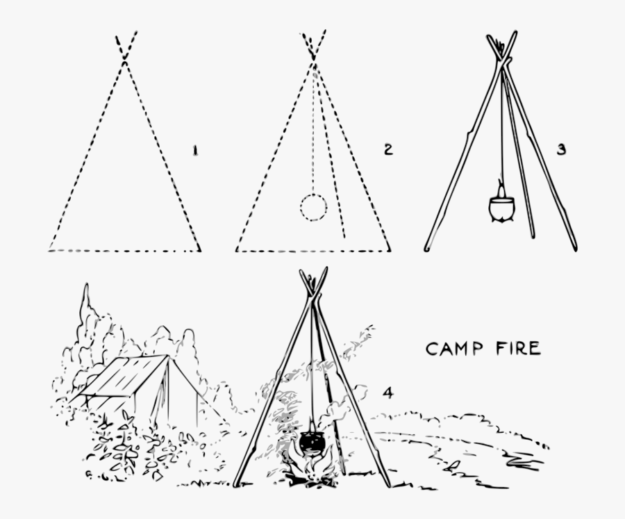 Line Art,triangle,area - Camp Fire Drawing Easy, Transparent Clipart