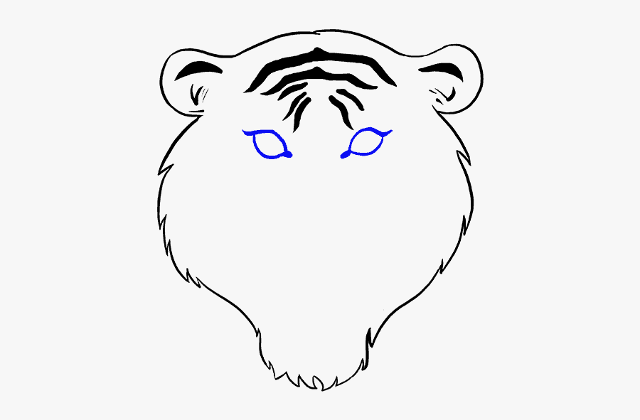 How To Draw Tiger Face - Step By Step Face Easy Tiger Drawing, Transparent Clipart