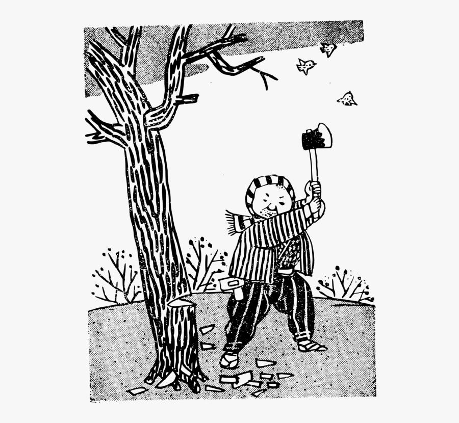 Art,monochrome Photography,carnivoran - Clip Art Black And White Cutting Tree, Transparent Clipart