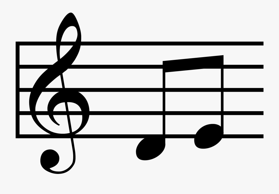 Musical Notes Treble Clef And 2 Half Notes - Music Notes Svg, Transparent Clipart
