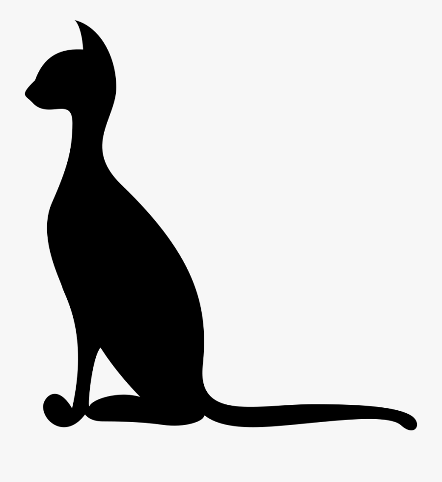Thin Elegant Cat Black Side Silhouette Svg Png Icon - Thin Cat Silhouette, Transparent Clipart
