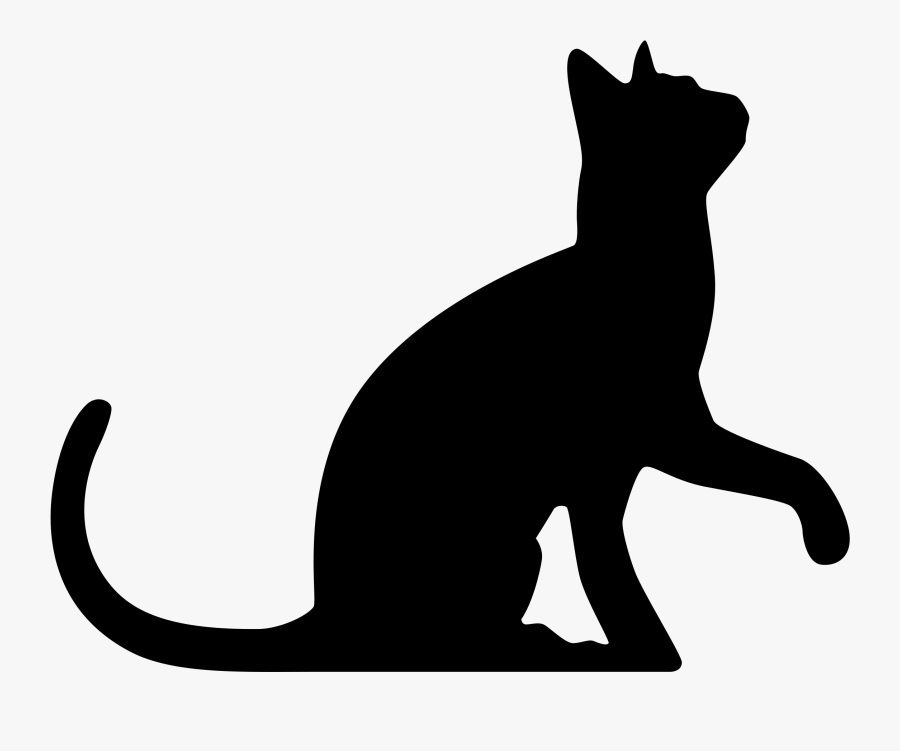 Black Cat Silhouette Wedding Cake Topper Clip Art - Transparent Background Cat Silhouette, Transparent Clipart